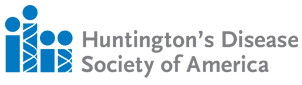 Huntington's Disease Society of America Logo, icons representing 3 standing people.
