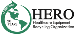 Hero Equipment Logo, North and South America in a ciricle with arrow.